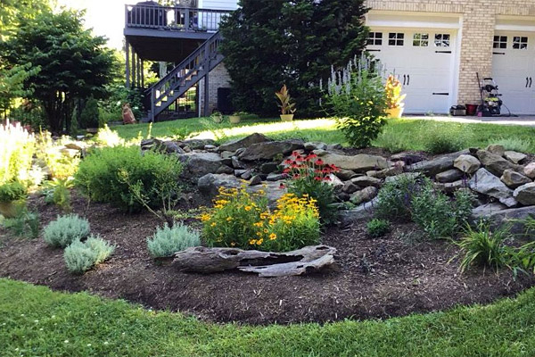 Flower beds with mulch and edging.